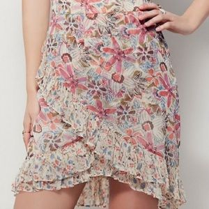 Free People Blue Floral Ruffle Skirt